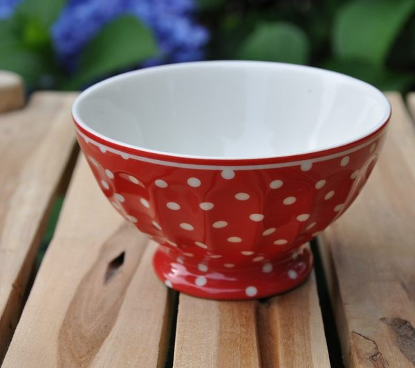 greengate spot red french bowl